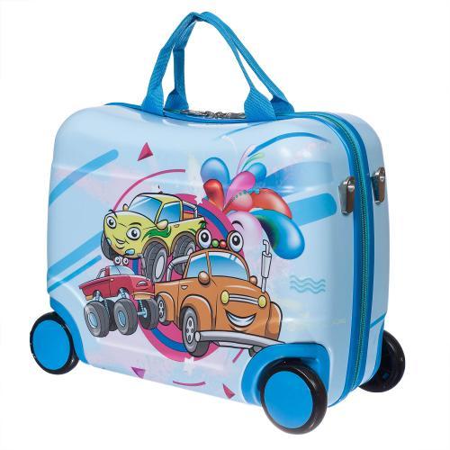 Детский чемодан-каталка на 4 колёсах Машинки