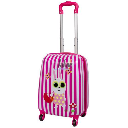 Детский чемодан 4 колеса «Зайчик с корзиной»