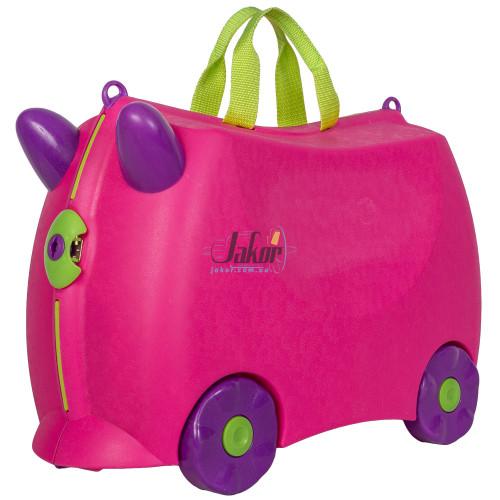 Детский чемодан-каталка на 4 колёсах ярко-розовый