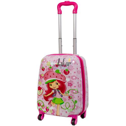 Детский чемодан 4 колеса «Девочка с клубничкой»